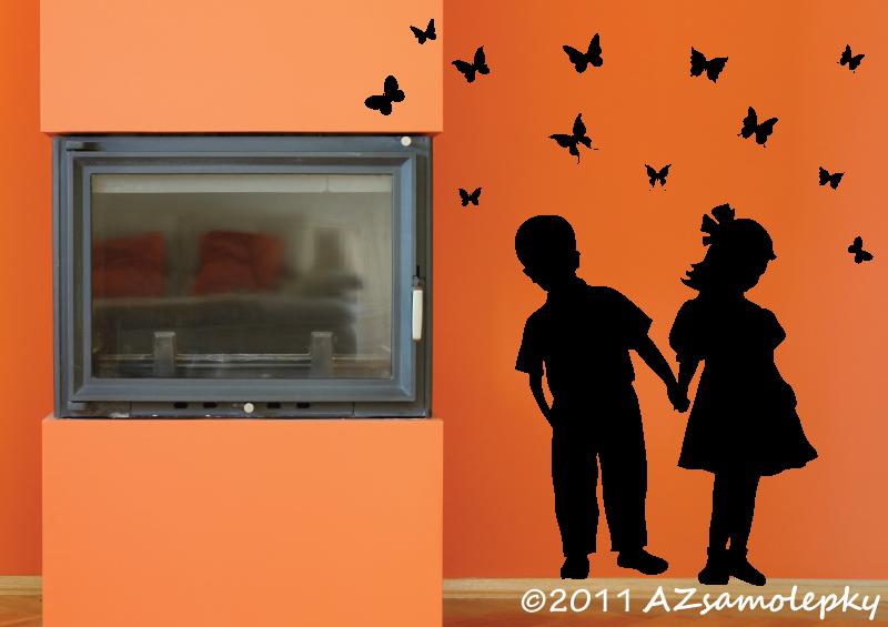 POSTAVY a OSOBNOSTI - Samolepky na zeď - Děti s motýlky