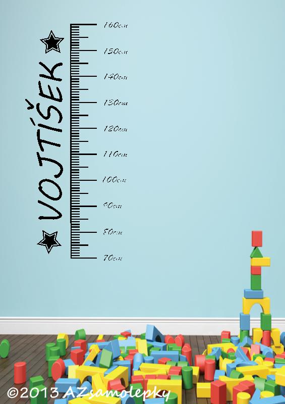 DĚTSKÉ samolepky na zeď - Samolepky na zeď - Dětský metr - Chlapecké jméno