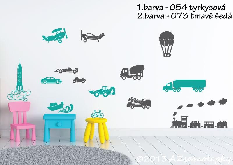 DĚTSKÉ samolepky na zeď - Dětské samolepky na zeď - Dopravní prostředky