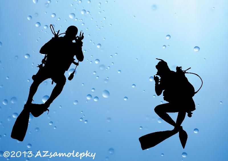 SPORT a ZÁJMY - samolepky na zeď - Samolepky na zeď - Dva potápěči