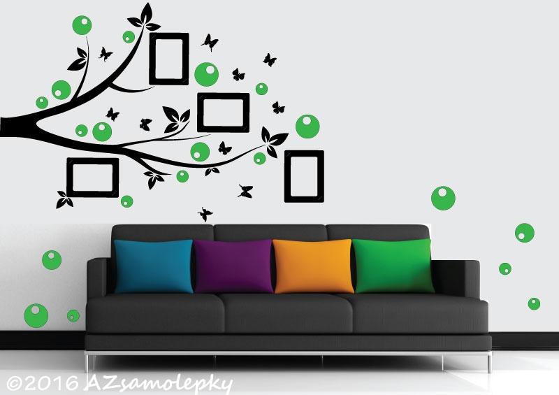 Samolepicí FOTOrámečky - Samolepky na zeď - FOTO větvička s bublinkami