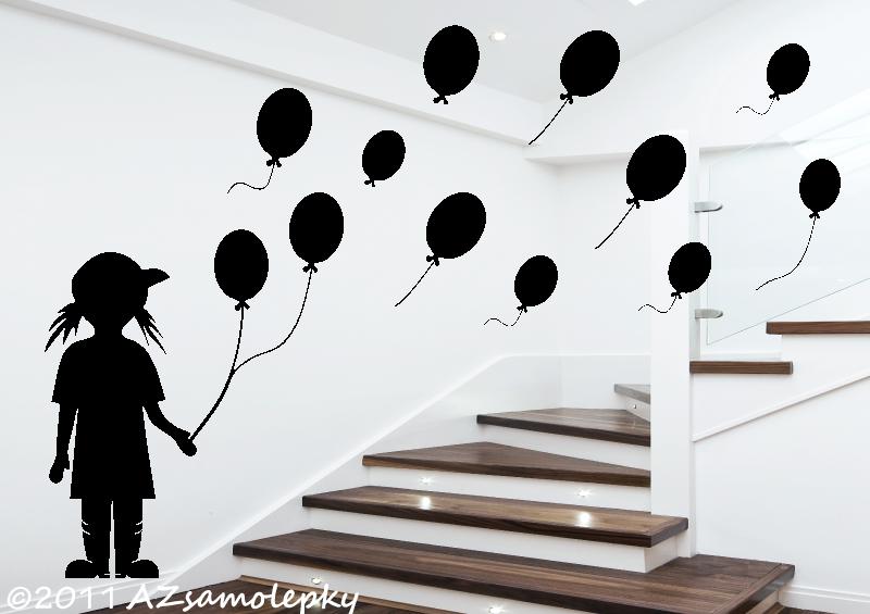 POSTAVY a OSOBNOSTI - Samolepky na zeď - Holčička s balónky