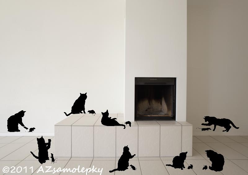 ZVÍŘATA - samolepky na zeď - Samolepky na zeď - Hra kočky s myší