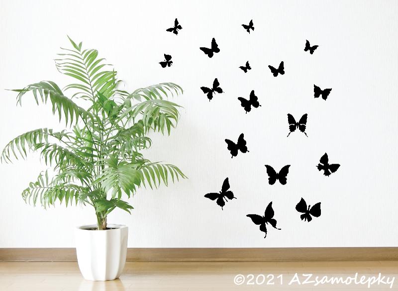 ZVÍŘATA - samolepky na zeď - Samolepky na zeď - Jarní motýlci