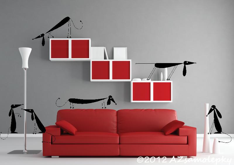 ZVÍŘATA - samolepky na zeď - Samolepky na zeď - Jezevčíci I