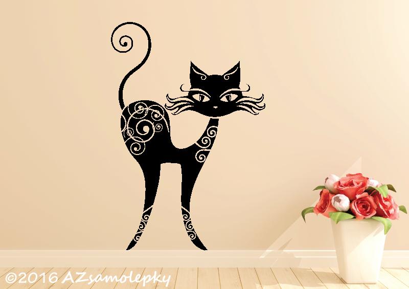 ZVÍŘATA - samolepky na zeď - Samolepky na zeď - Kočka Ornament