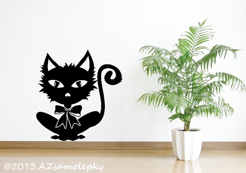 ZVÍŘATA - samolepky na zeď - Samolepky na zeď - Kočka s mašlí I.
