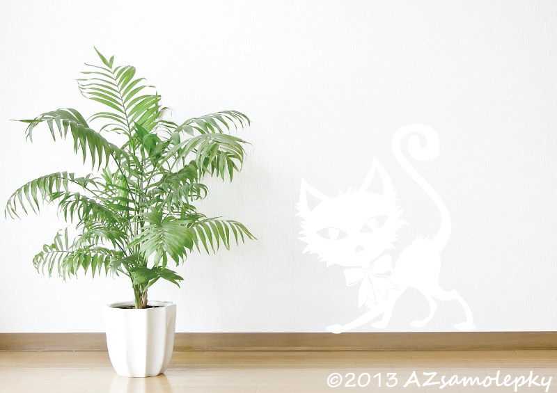 ZVÍŘATA - samolepky na zeď - Samolepky na zeď - Kočka s mašlí II.