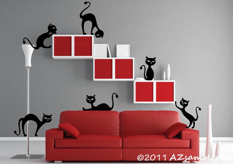 ZVÍŘATA - samolepky na zeď - Samolepky na zeď - Kočky v akci