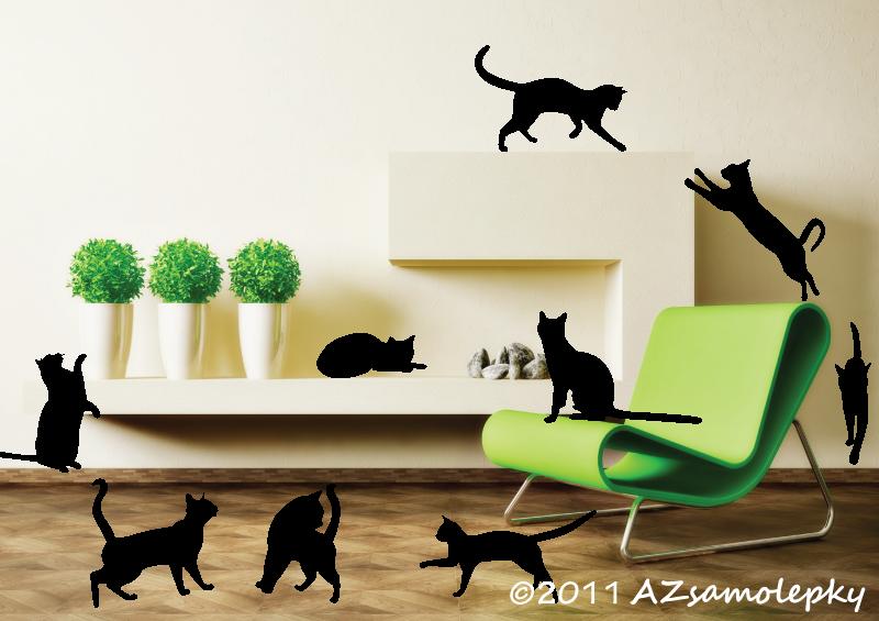 ZVÍŘATA - samolepky na zeď - Samolepky na zeď - Kočky