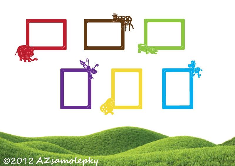 Samolepicí FOTOrámečky - Samolepky na zeď - Kolekce FOTO Zoo mix
