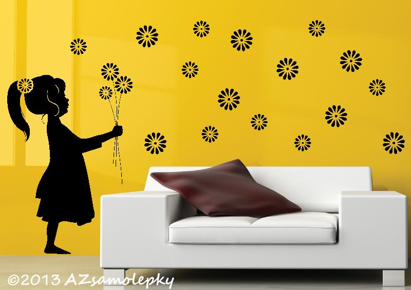 POSTAVY a OSOBNOSTI - Samolepky na zeď - Kopretinová holčička