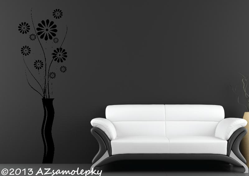 ROSTLINY - samolepky na zeď - Samolepky na zeď - Kopretinová váza
