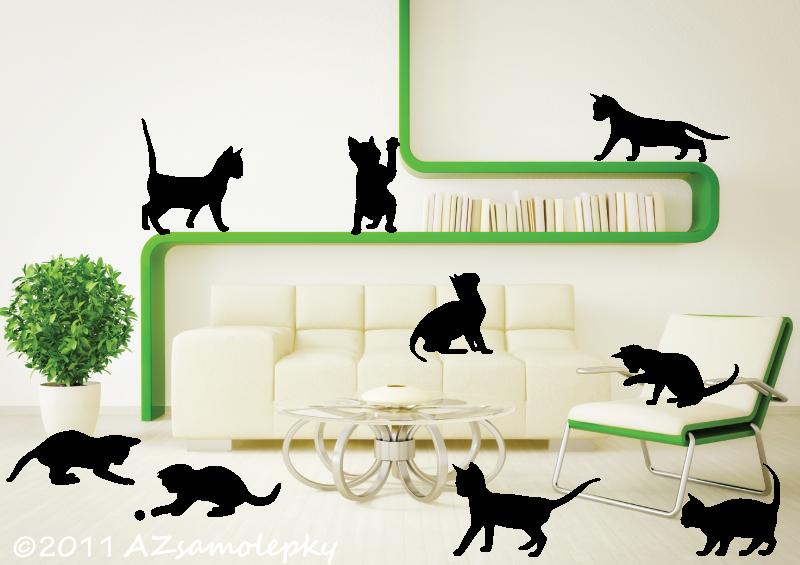 ZVÍŘATA - samolepky na zeď - Samolepky na zeď - Koťátka