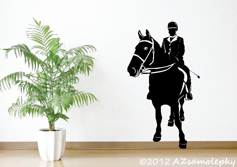 SPORT a ZÁJMY - samolepky na zeď - Samolepky na zeď - Kůň se žokejem