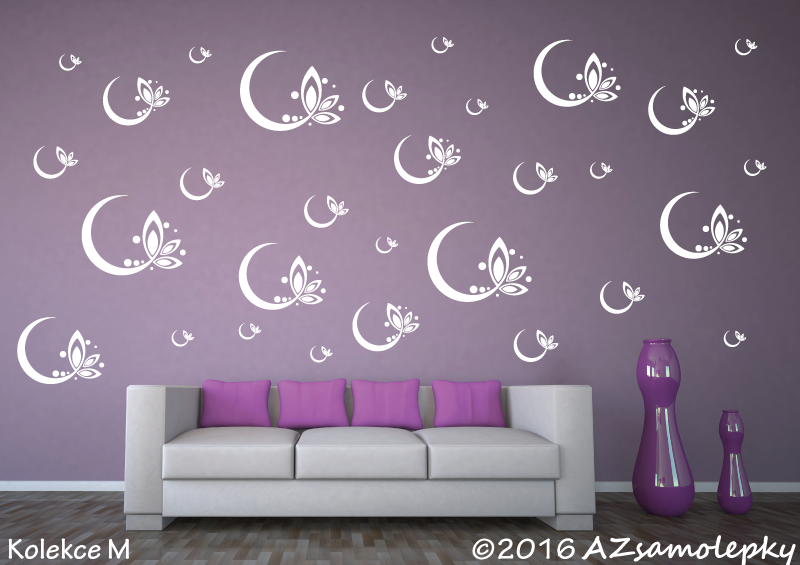 MODERNÍ samolepky na zeď - Samolepky na zeď - Květinové bublinky