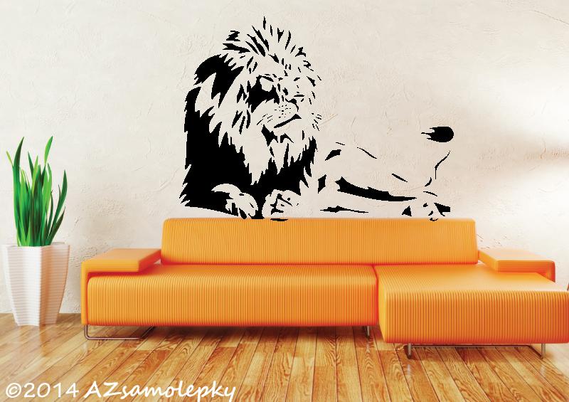 ZVÍŘATA - samolepky na zeď - Samolepky na zeď - Ležící lev
