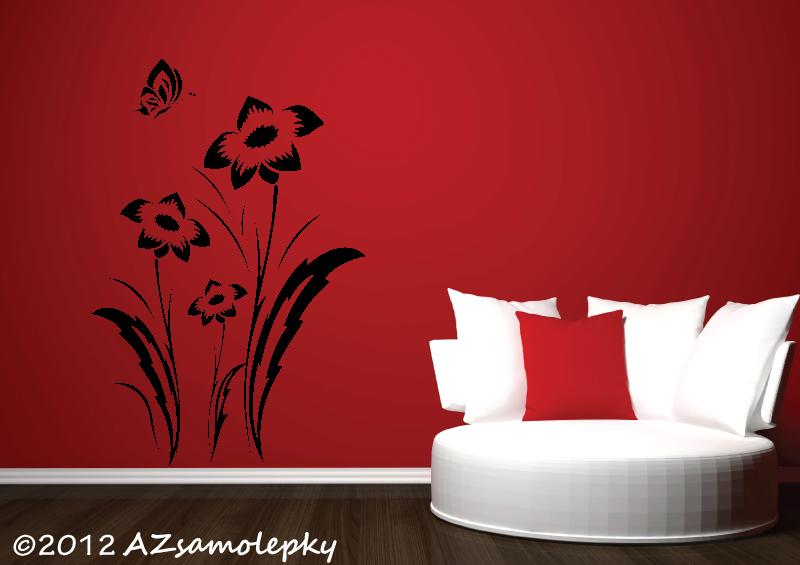 ROSTLINY - samolepky na zeď - Samolepky na zeď - Luční květy s motýlkem