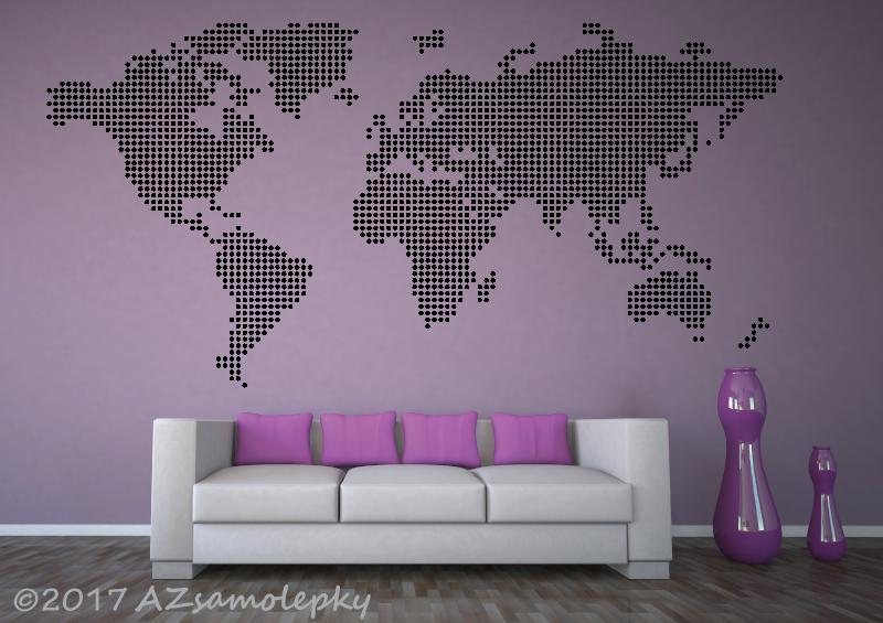 MĚSTA a MONUMENTY, MAPY - Samolepky na zeď - Mapa světa-puntíky