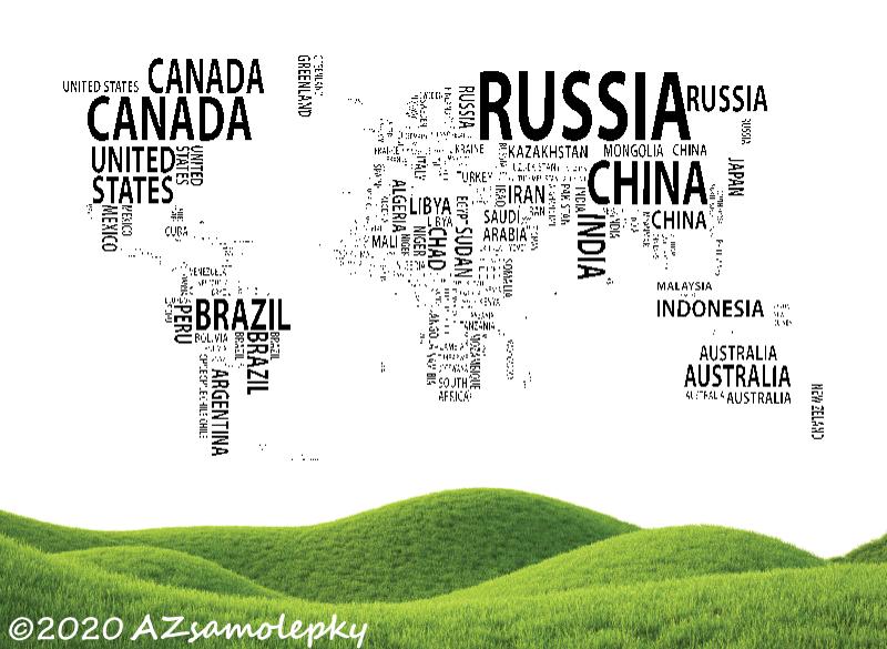 MĚSTA a MONUMENTY, MAPY - Samolepky na zeď - Mapa světa - státy