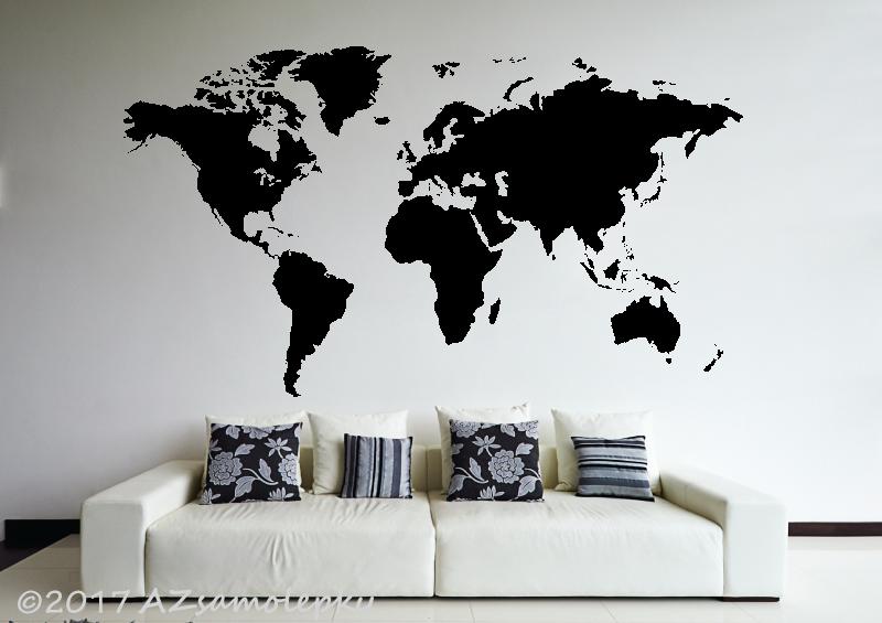MĚSTA a MONUMENTY, MAPY - Samolepky na zeď - Mapa světa