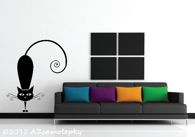ZVÍŘATA - samolepky na zeď - Samolepky na zeď - Moderní kočka I