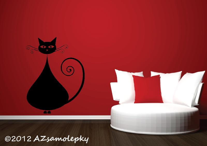 ZVÍŘATA - samolepky na zeď - Samolepky na zeď - Moderní kočka III