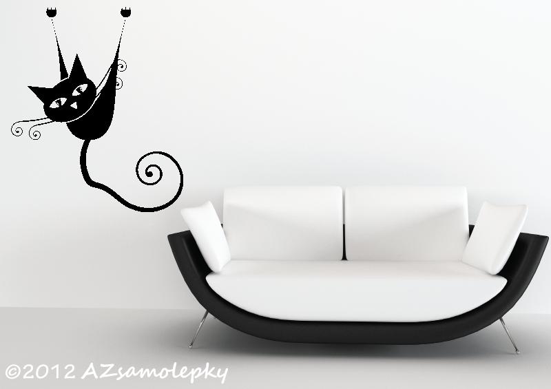ZVÍŘATA - samolepky na zeď - Samolepky na zeď - Moderní kočka IV