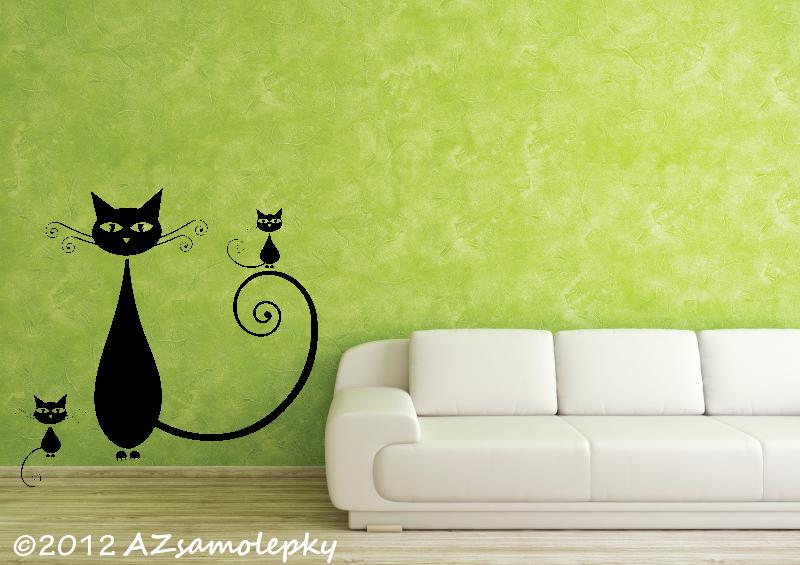 ZVÍŘATA - samolepky na zeď - Samolepky na zeď - Moderní kočka VI