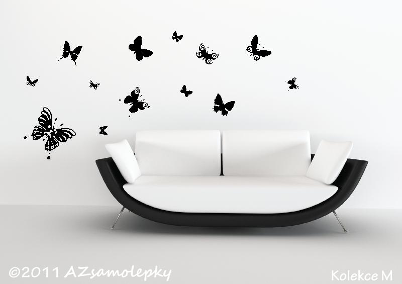 ZVÍŘATA - samolepky na zeď - Samolepky na zeď - Motýl Ring + malí motýlci