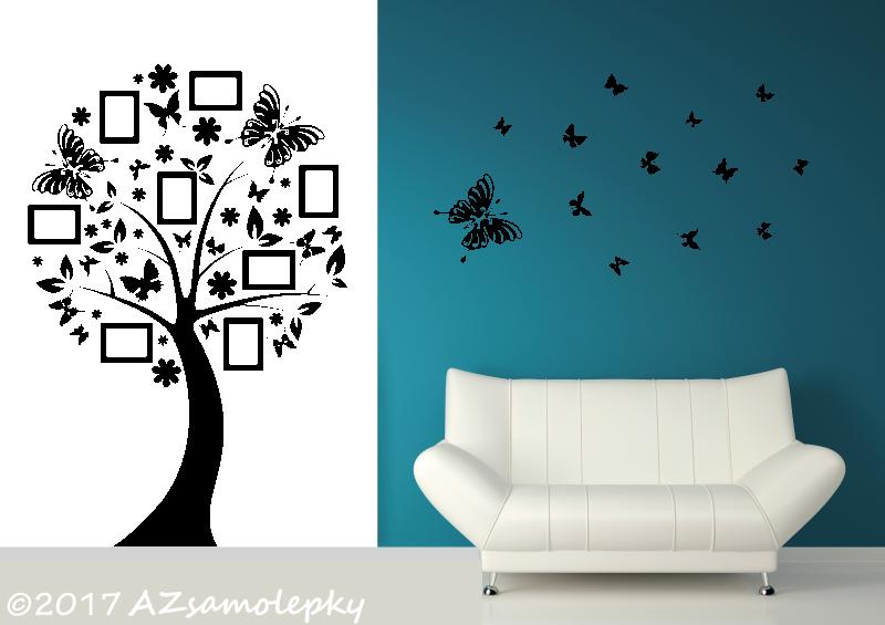 STROMY - samolepky na zeď - Samolepky na zeď - Motýlí FOTO strom