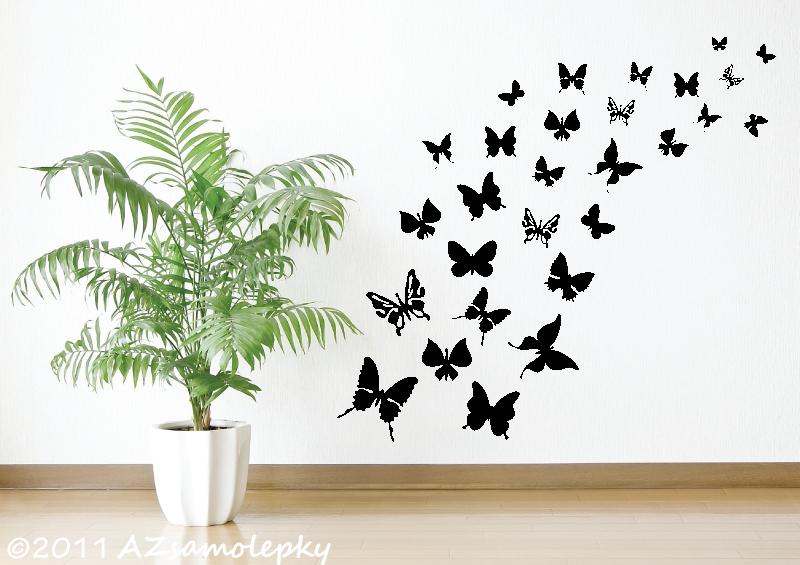 ZVÍŘATA - samolepky na zeď - Samolepky na zeď - Motýlí ráj