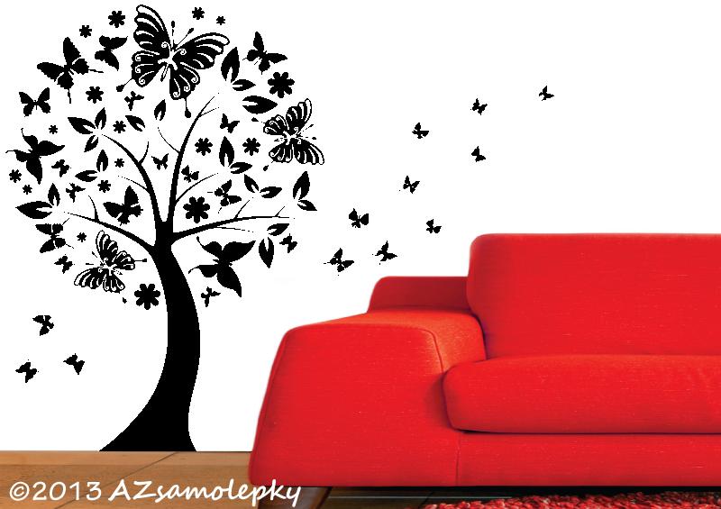STROMY - samolepky na zeď - Samolepky na zeď - Motýlí strom
