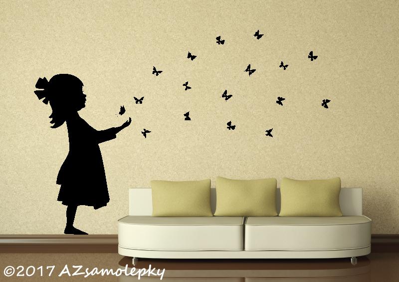 POSTAVY a OSOBNOSTI - Samolepky na zeď - Motýlková holčička