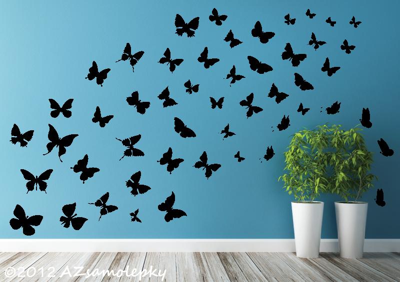ZVÍŘATA - samolepky na zeď - Samolepky na zeď - Motýlková invaze