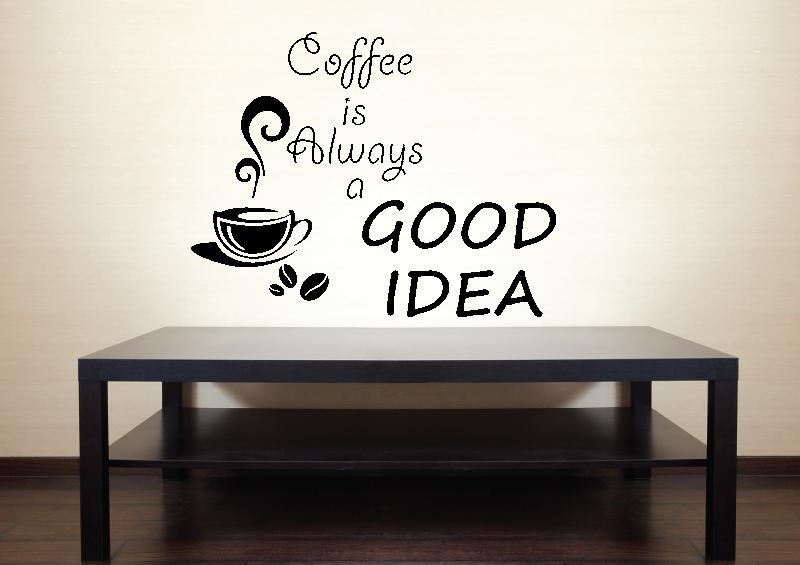 NÁPISY, CITÁTY, TEXTY a ZNAKY - Samolepky na zeď-Nápis-Káva