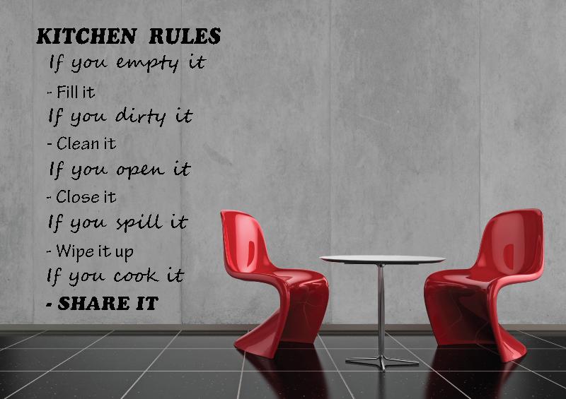 NÁPISY, CITÁTY, TEXTY a ZNAKY - Samolepky na zeď-Nápis-Kitchen rules