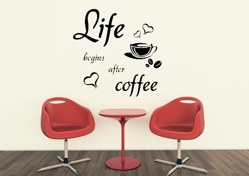 NÁPISY, CITÁTY, TEXTY a ZNAKY - Samolepky na zeď-Nápis-Life-coffee