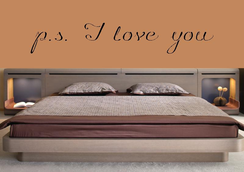 NÁPISY, CITÁTY, TEXTY a ZNAKY - Samolepky na zeď-Nápis-p.s. I love you II