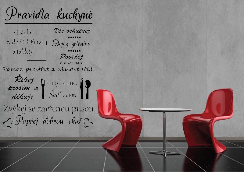 NÁPISY, CITÁTY, TEXTY a ZNAKY - Samolepky na zeď-Nápis-Pravidla kuchyně
