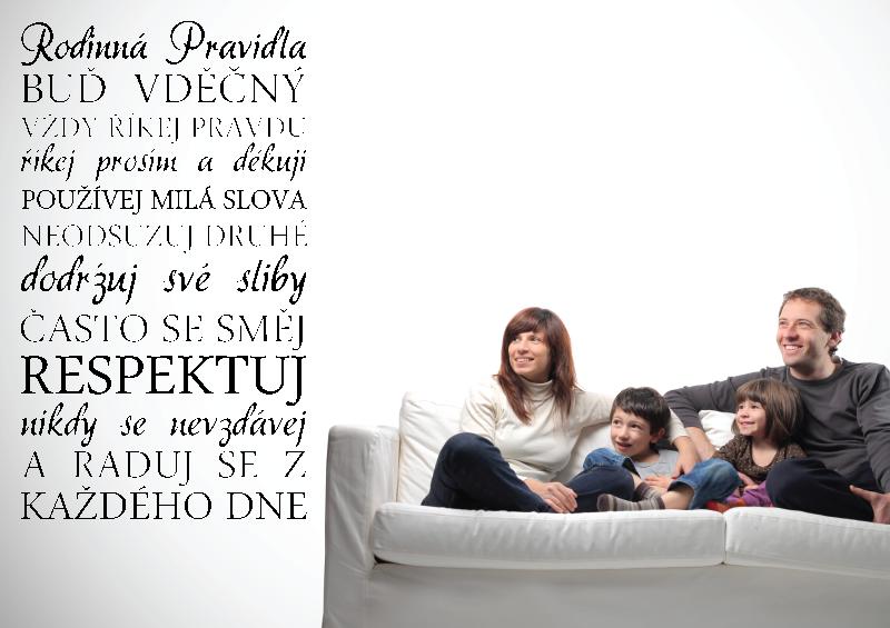 NÁPISY, CITÁTY, TEXTY a ZNAKY - Samolepky na zeď-Nápis-Rodinná pravidla