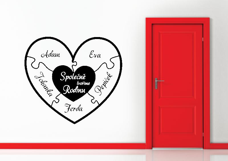 NÁPISY, CITÁTY, TEXTY a ZNAKY - Samolepky na zeď-Nápis-Rodinné srdce