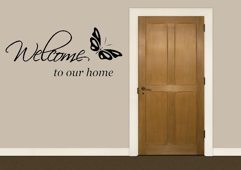NÁPISY, CITÁTY, TEXTY a ZNAKY - Samolepky na zeď-Nápis-Welcome motýl