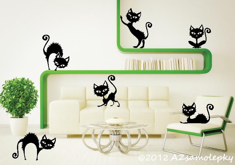 ZVÍŘATA - samolepky na zeď - Samolepky na zeď - Nezbedné kočky