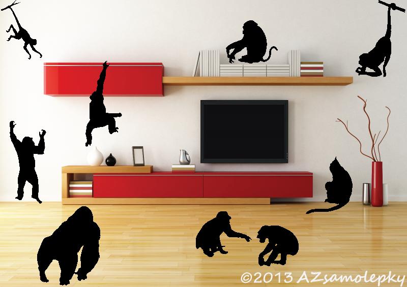 ZVÍŘATA - samolepky na zeď - Samolepky na zeď - Opice