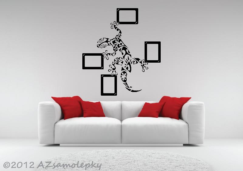 Samolepicí FOTOrámečky - Samolepky na zeď - Ozdobná ještěrka + 4 fotorámečky