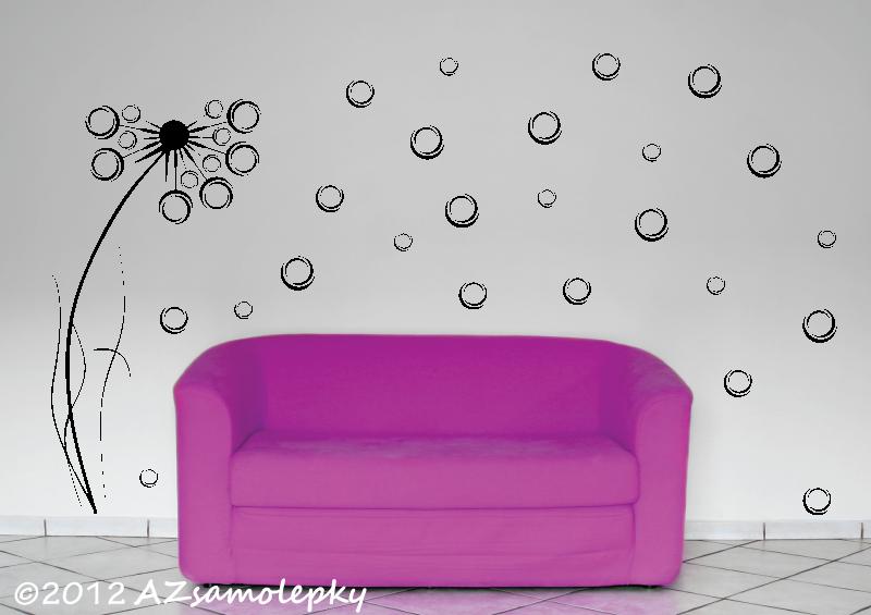 ROSTLINY - samolepky na zeď - Samolepky na zeď - Pampeliška - moderní bublinky