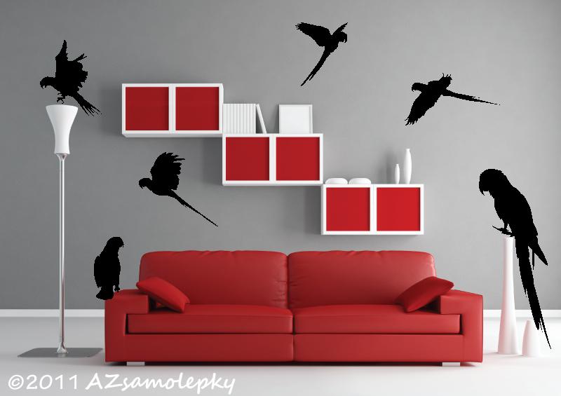 ZVÍŘATA - samolepky na zeď - Samolepky na zeď - Papoušci I