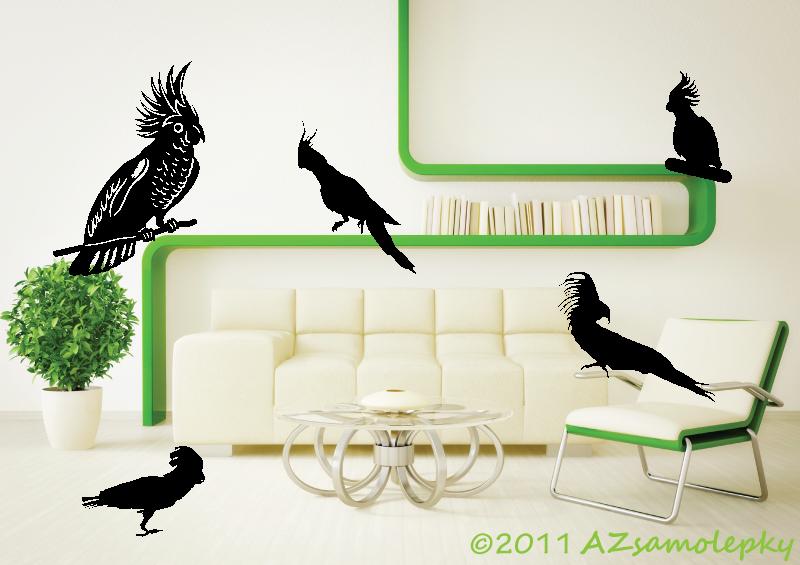ZVÍŘATA - samolepky na zeď - Samolepky na zeď - Papoušci II