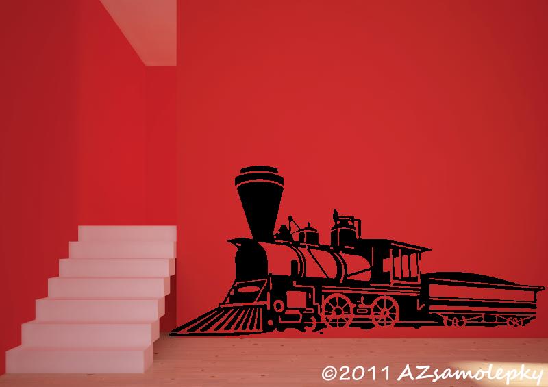 TECHNICKÉ samolepky na zeď - Samolepky na zeď - Parní lokomotiva